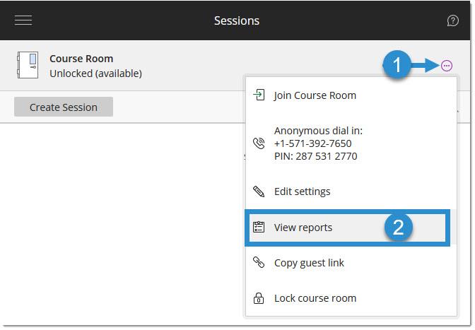 Course Room session settings menu
