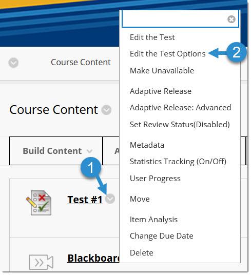 Test options menu