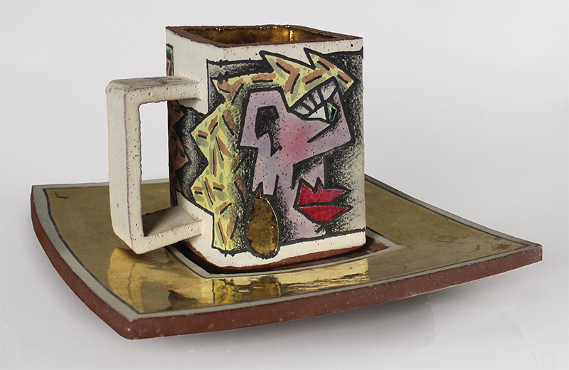 "Mug and Saucer Rimas VisGirda Ceramic, 12"" x 12"" x 6"" 1992"