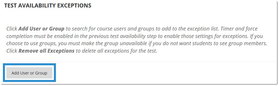 Test Availability Exceptions