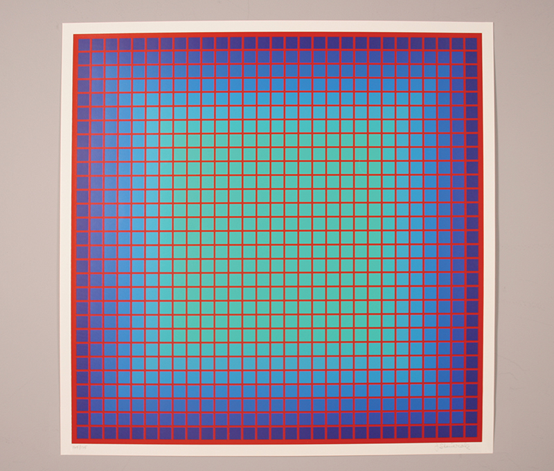 "Conferring Blue Julian Stanczak Serigraph, 25"" x 25"" 1981"