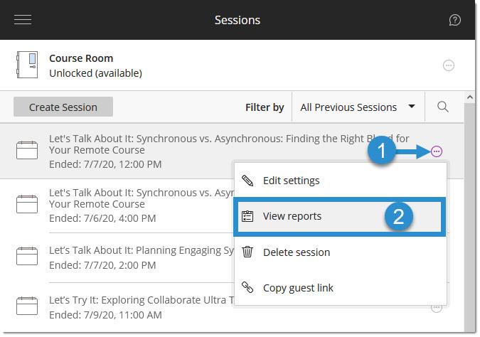 Session settings menu