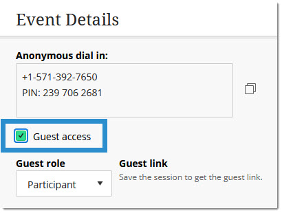Guest access settings
