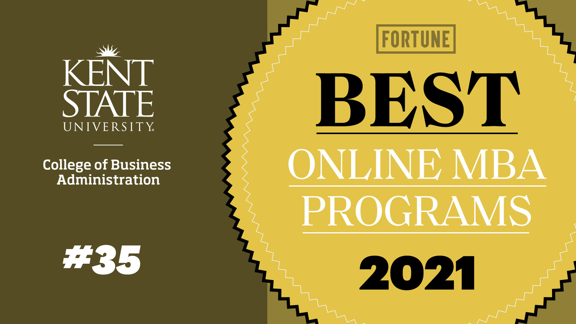 Kent State University Online MBA Master Business Administration Fortune Ranking