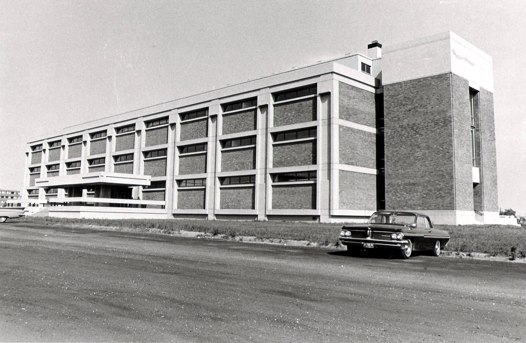 Williams Hall during its construction in the 1960s.