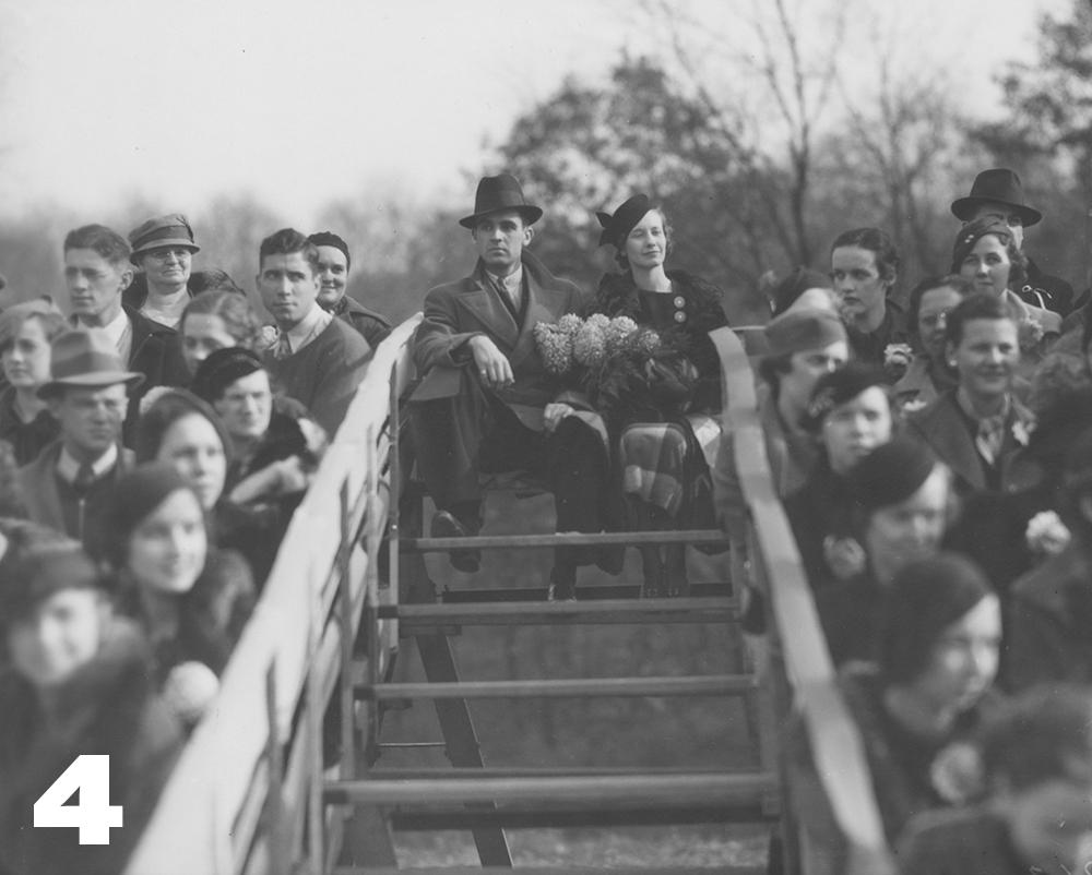 """Homecoming queen Elizabeth """"Billie"""" Streine and her escort, Jay Miller, 1934"""