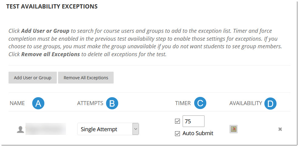 Test Availability Exception options