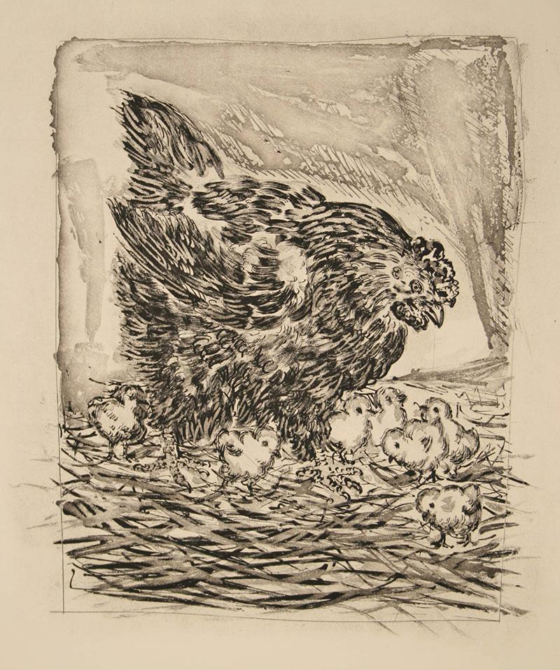 """La Mere Poule Pablo Picasso Aquatint and drypoint 14"""" x 11"""" 1942"""