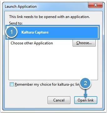 Launch Kaltura dialog box