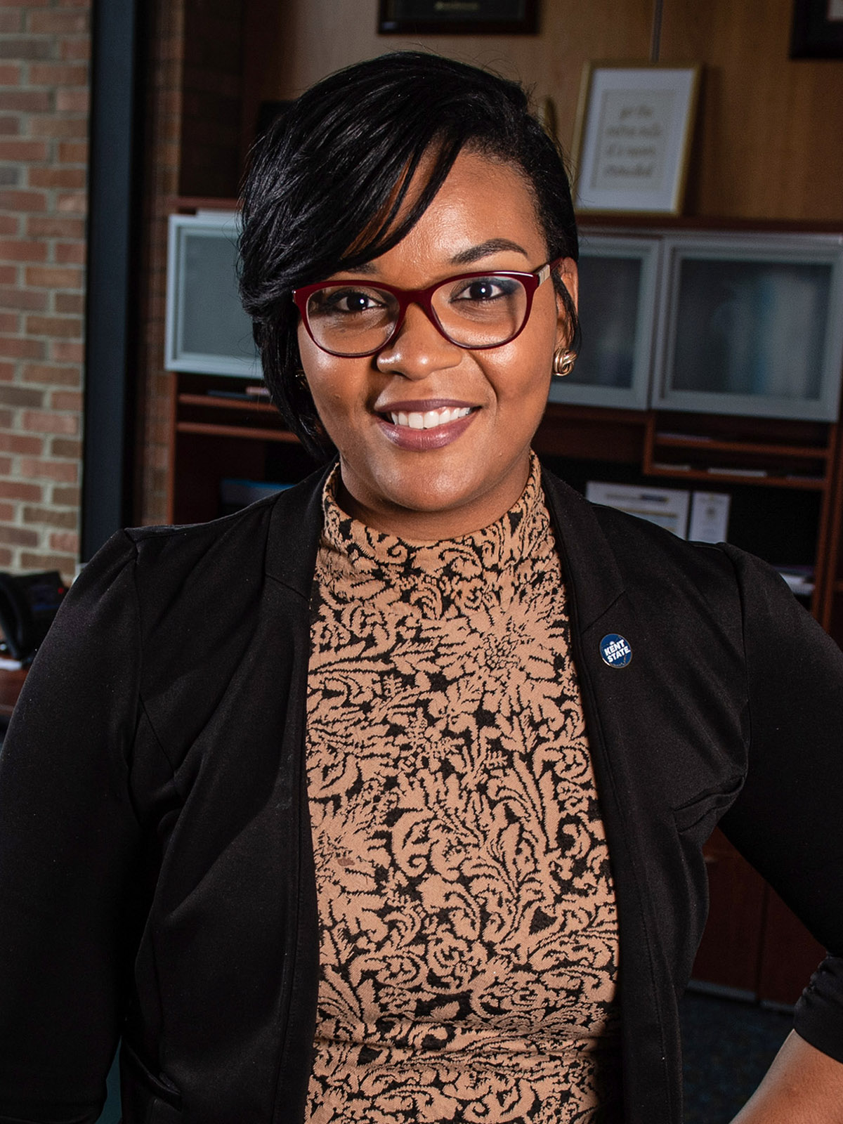 Taléa R. Drummer-Ferrell, Ph.D., is the first Black woman to be dean of students at Kent State University.