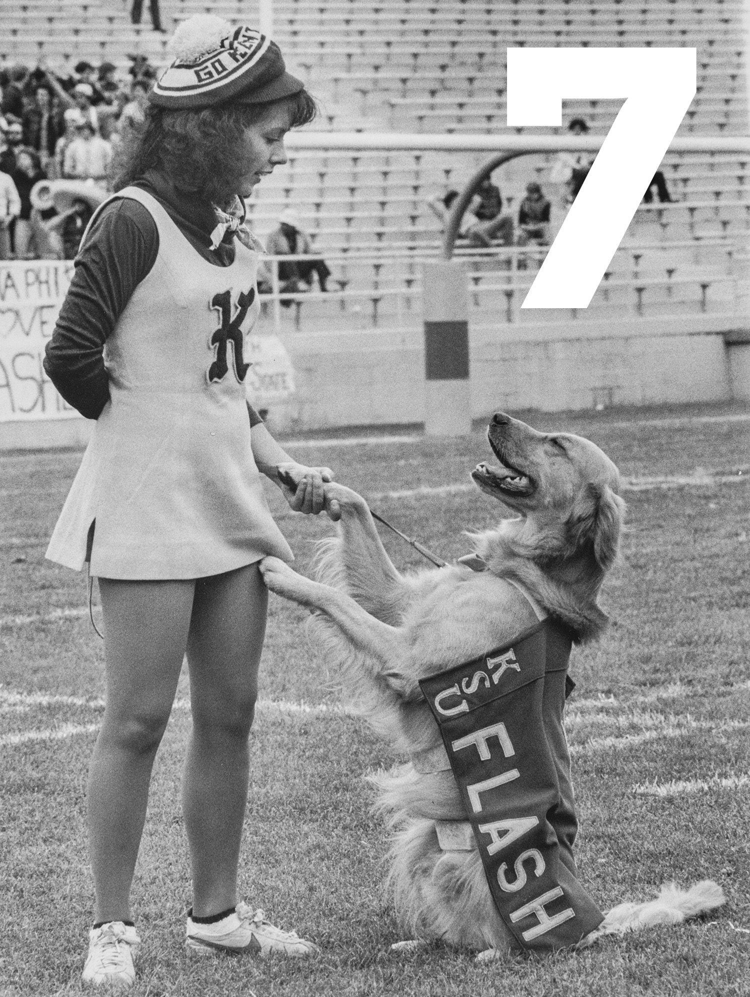 Mac the Flash is a Golden Retriever who acted as the mascot in the late 70s