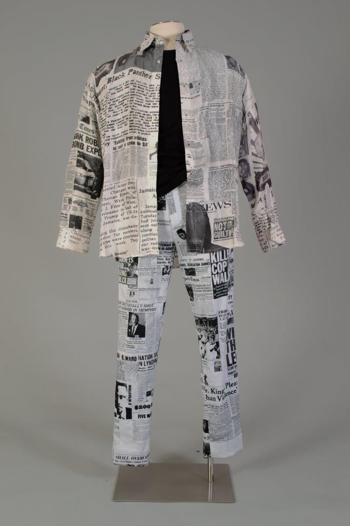 """A piece designed by Colin Isaacs, a Kent State University Fashion School student, is on display in the """"Wearing Justice"""" exhibition at the Kent State University Museum."""