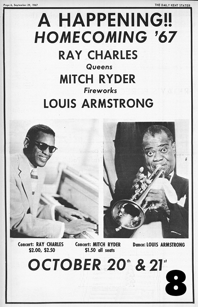 Ray Charles and Mitch Ryder play concerts and Louis Armstrong performs at the Homecoming dance, 1967