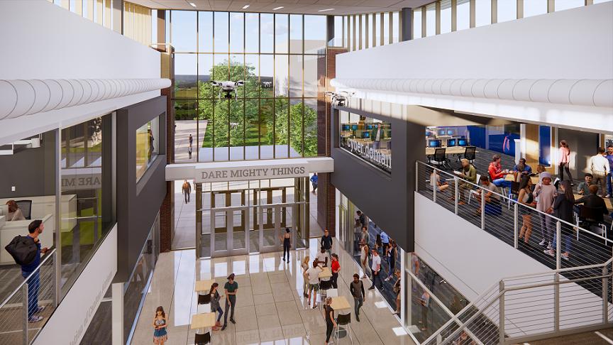 Atrium rendering of Kent State University's Aeronautics and Engineering Building expansion