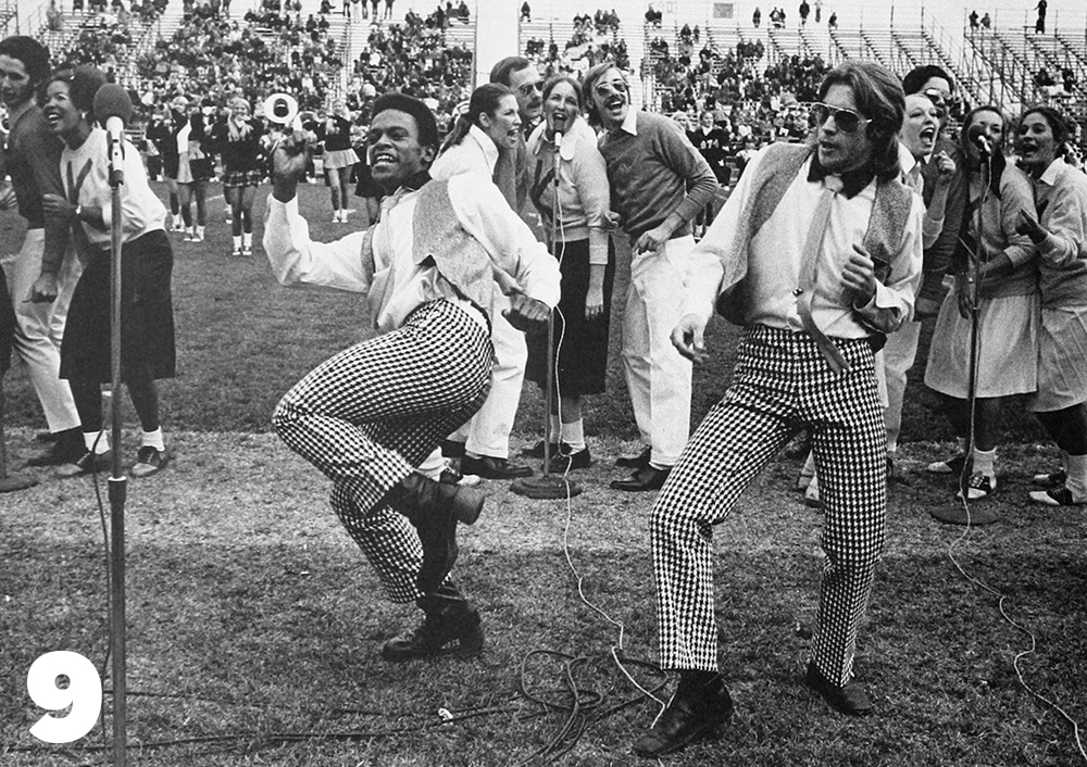 The New Kent Singers perform a 50s-style half-time show, 1973