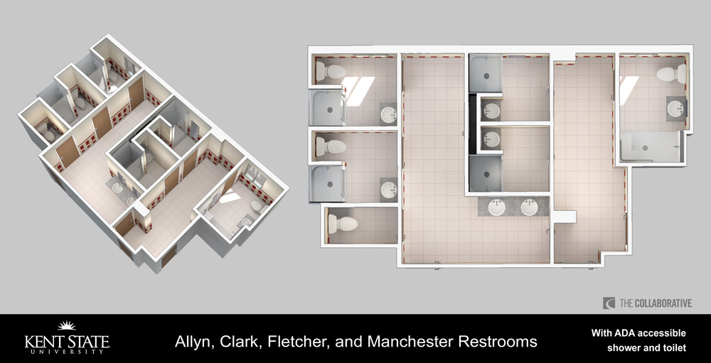 Diagram of restrooms with ADA accessible shower and toilet