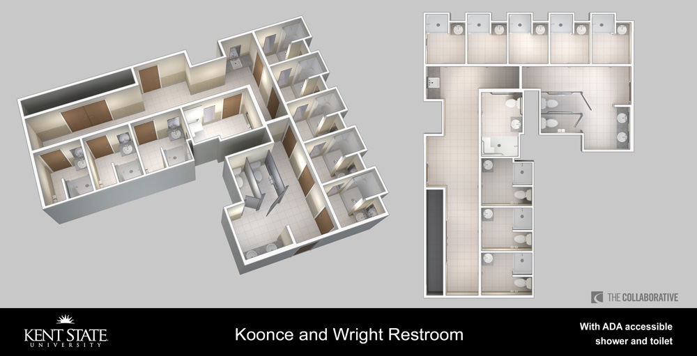 View the diagram for Koonce and Wright restrooms with ADA accessible shower and toilet in high resolution