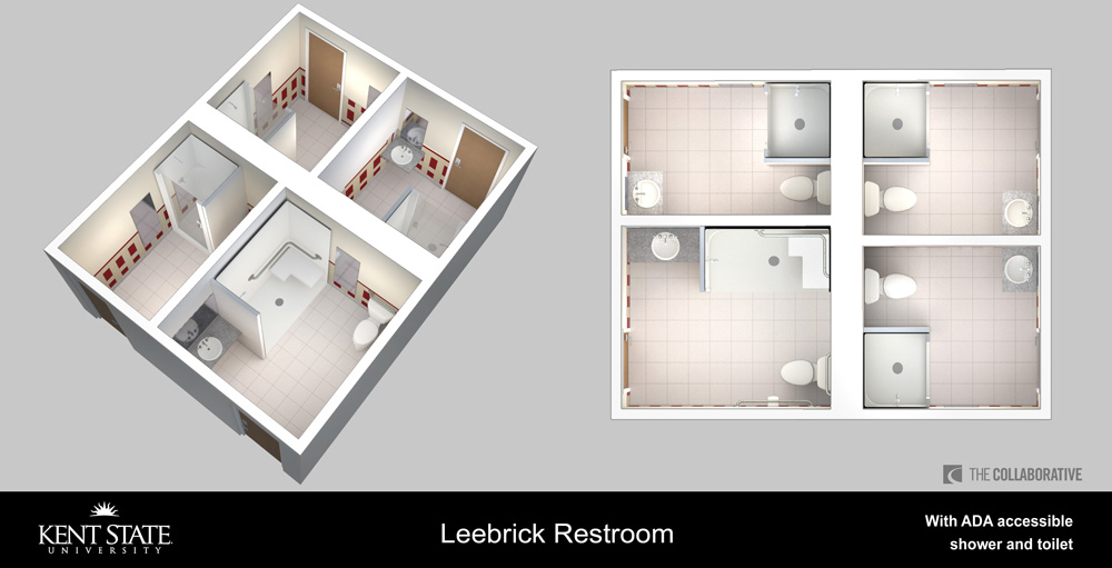 View the diagram for Leebrick restrooms with ADA accessible shower and toilet in high resolution