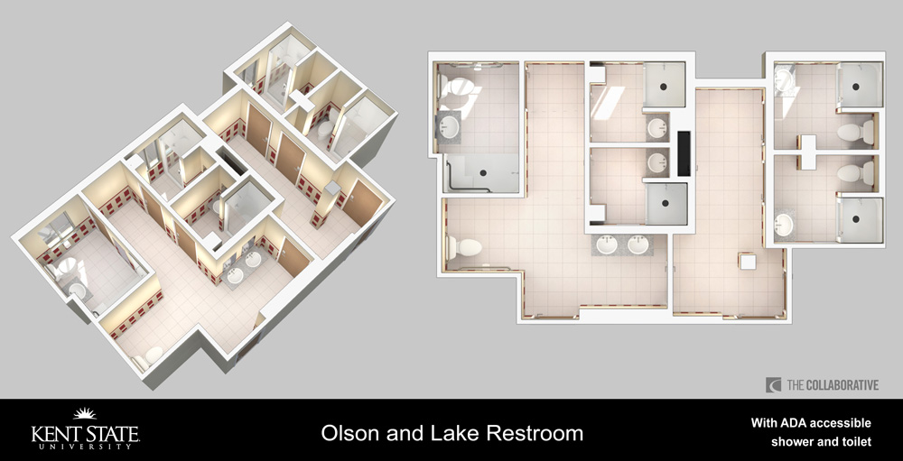 View the diagram for Olson and Lake restrooms with ADA accessible shower and toilet in high resolution