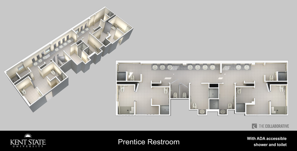 View the diagram for Prentice restrooms with ADA accessible shower and toilet in high resolution