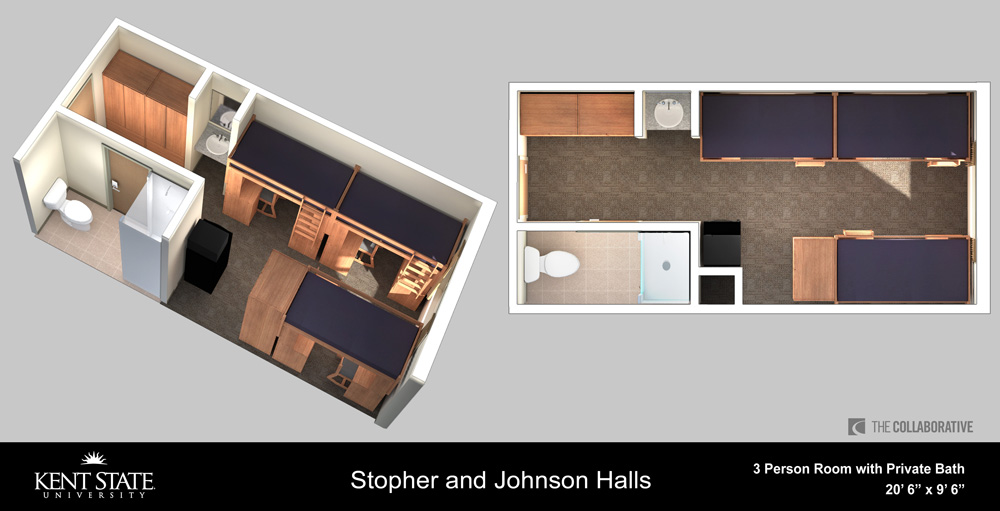 Diagram of Stopher and Johnson 3-person Room with Private Bath
