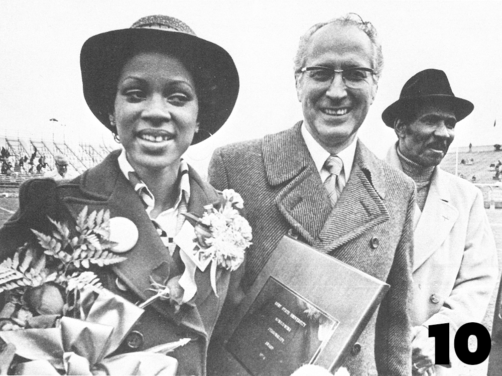 Kathy Hill, sponsored by Omega Psi Phi, is crowned KSU's first African-American Homecoming queen, 1974