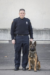 Photo of Officer Miguel Witt and Dexter, Kent State University Police Department - photo credit Ohio Department of Public Safety