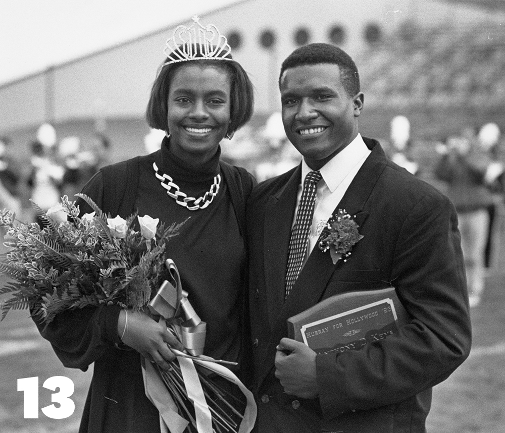 Nikki Marchmon and Anthony Keys are crowned Homecoming King and Queen during halftime 1993