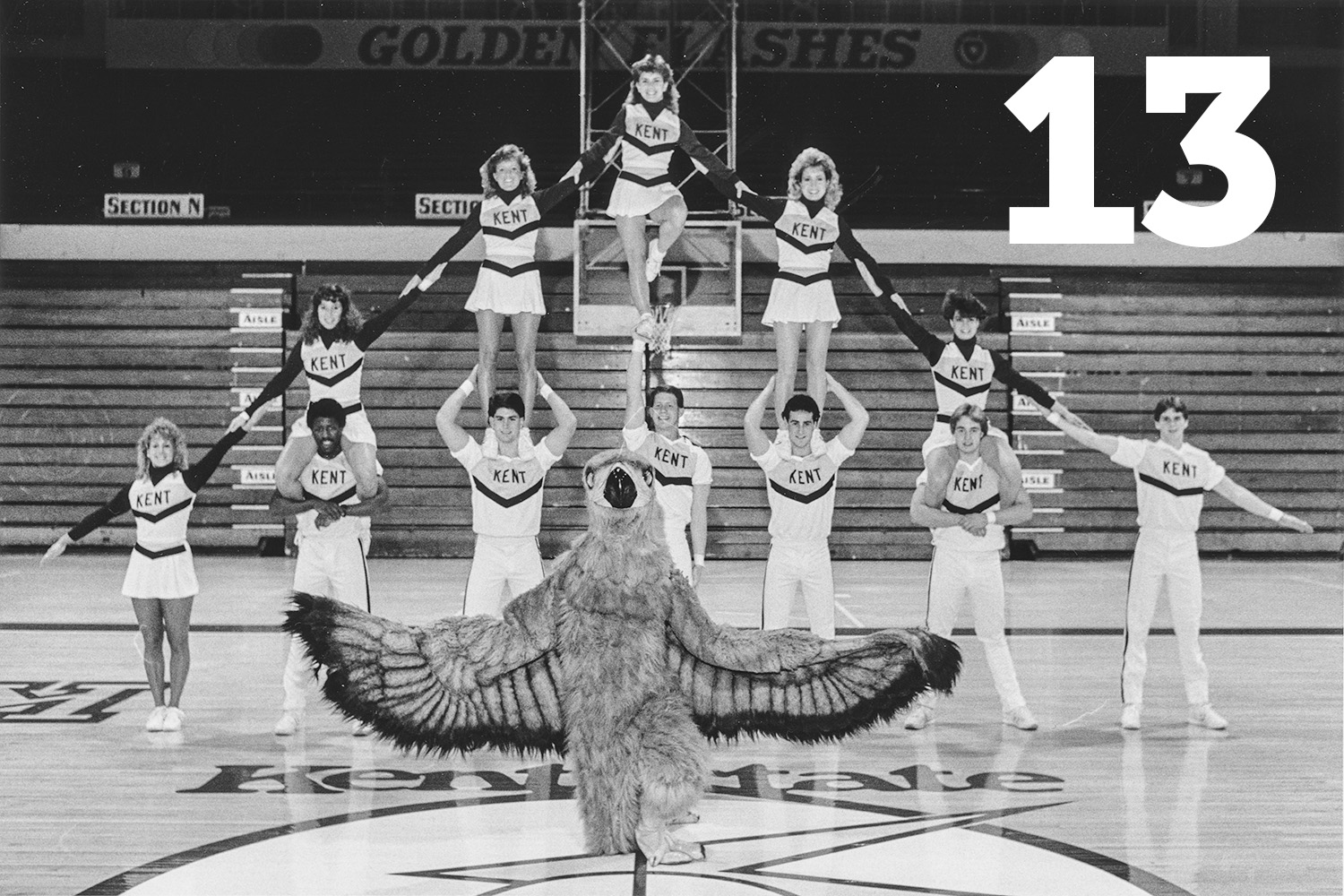 1986 basketball cheerleaders and the golden eagle mascot