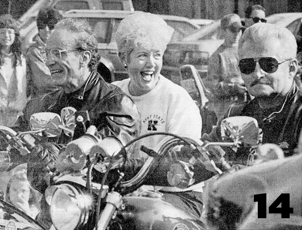 President Carol Cartwright rides a Harley-Davidson for the Homecoming parade in 1994