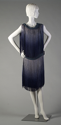 Blue silk chiffon Chanel dress trimmed with ombre blue silk fringe