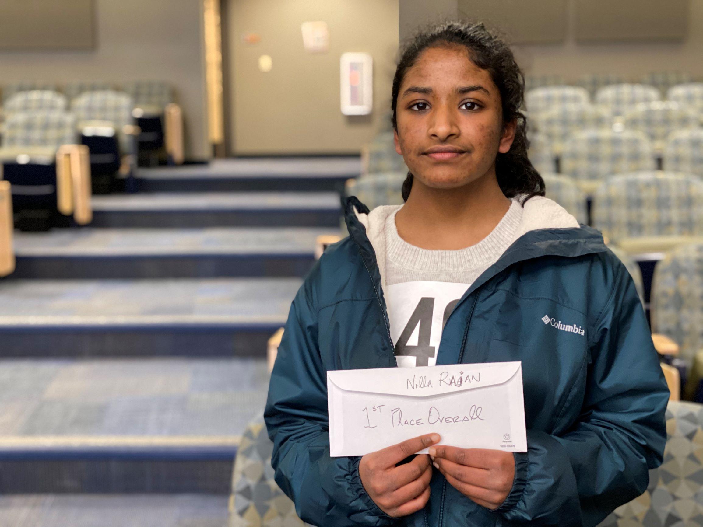 Regional Brain Bee winner Nilla Rajan