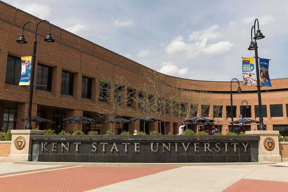 The Kent State University fountain outside of the  Student Center.