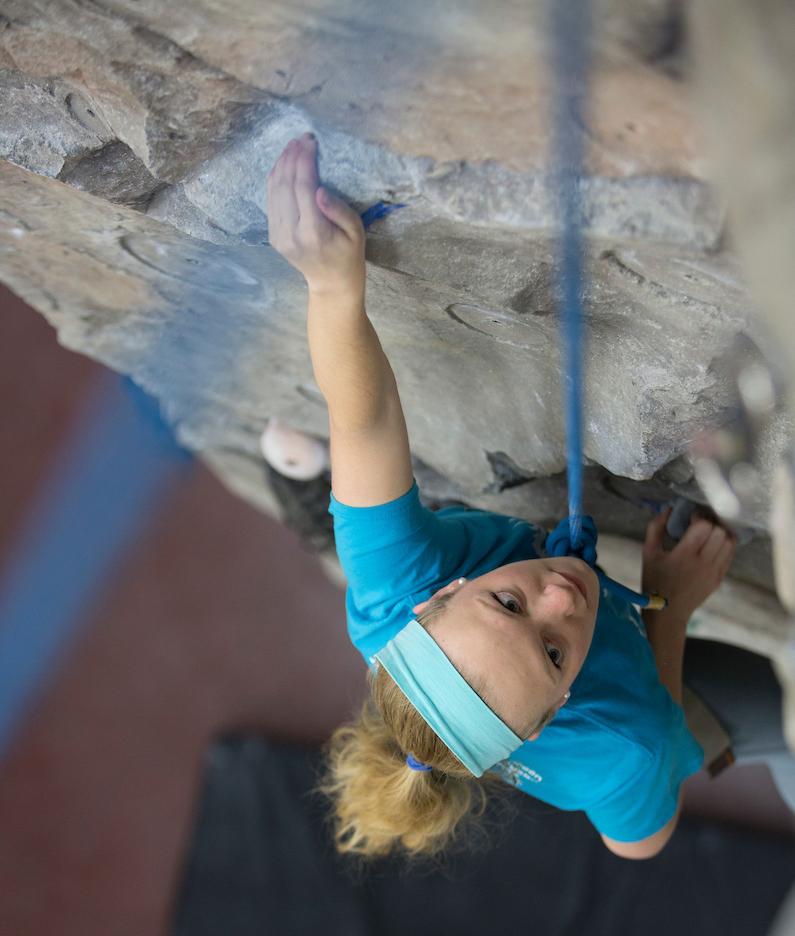 Kent State student rock climbing