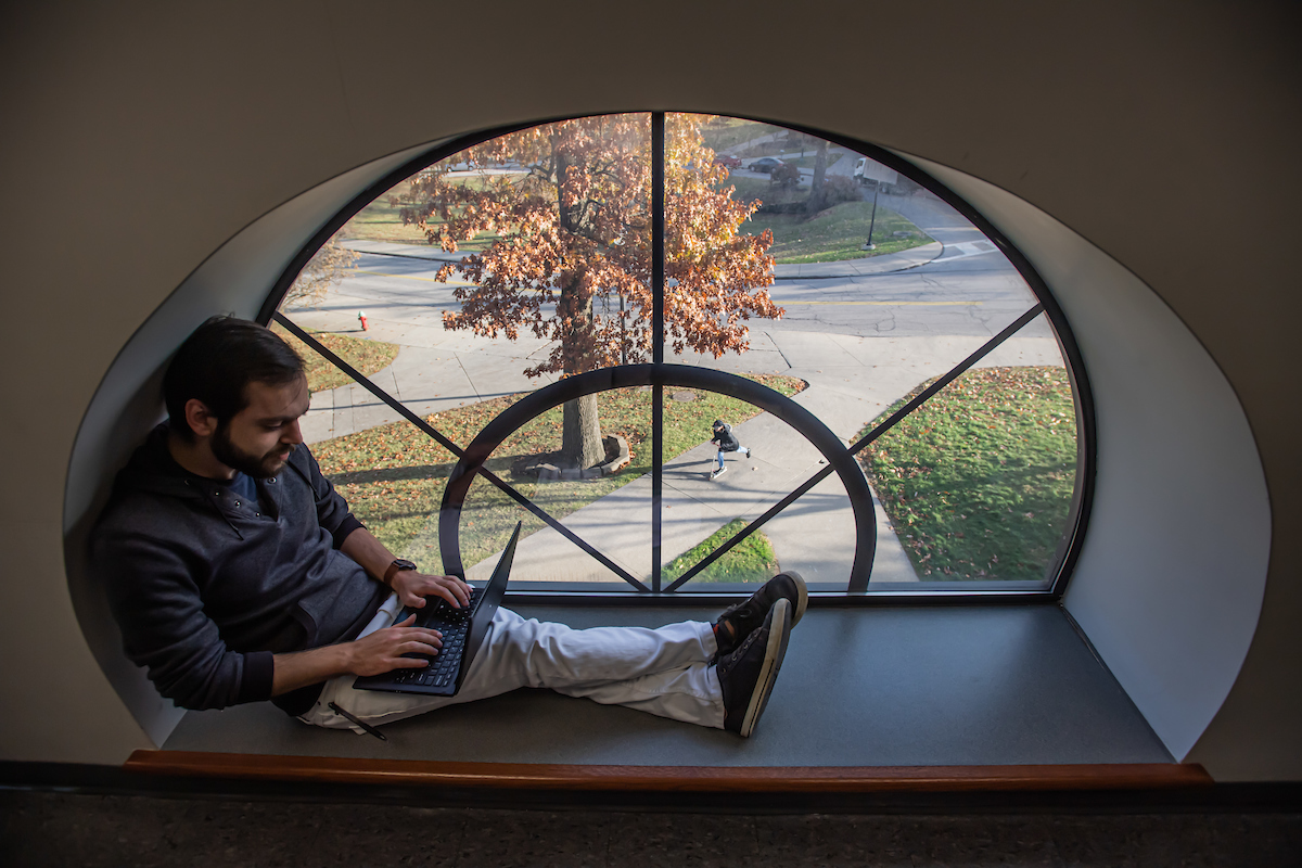 Kent State student on laptop