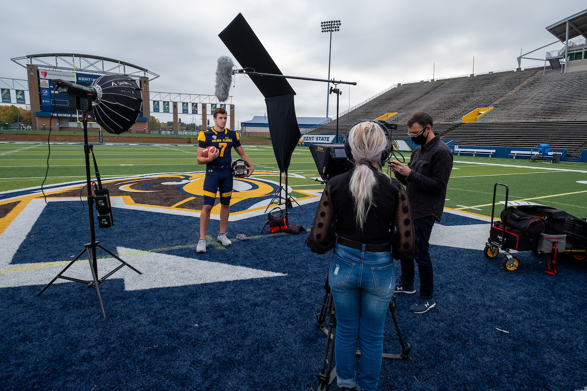 Flashes quarterback Dustin Crum prepares for his shot during Kent State's latest commercial airing during football games this season.