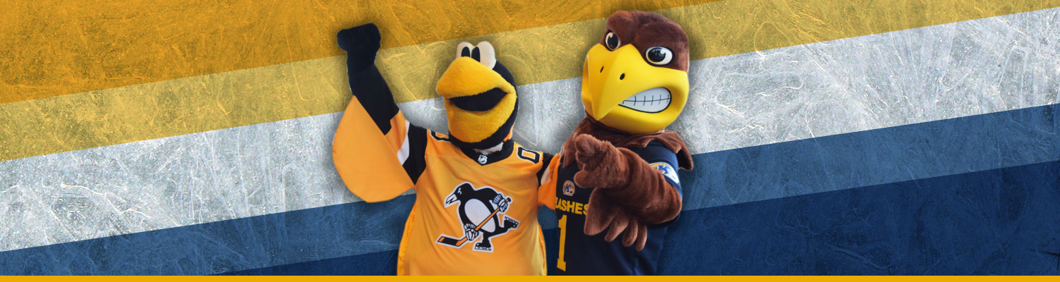 Photo of Flash with the Pittsburgh Penguins mascot