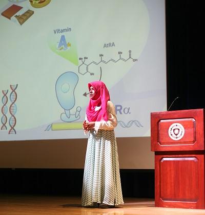 Image of Fathima Nafrisha Cassim Bawa presenting at the 2019 Global Cleveland International Pitch Contest