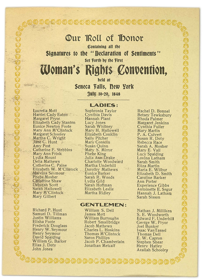 Signature page for the womens' rights convention