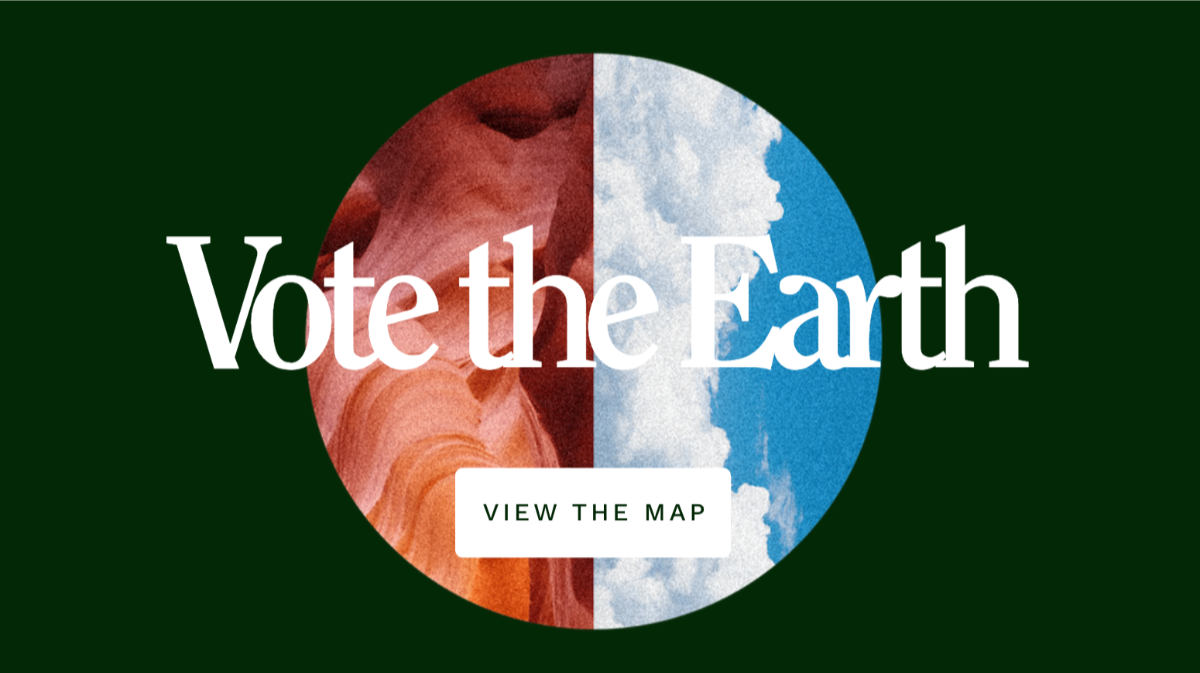 """green background with two semicircles in the center, one with red and white squiggles and the other with a blue partly cloudy sky. The words """"Vote the Earth"""" overlay."""