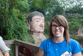 VCD alumna participated in the Sichuan University Summer Immersion Program twice. Here, she poses by the Leshan Giant Buddha, which is located in the Sichuan Province.