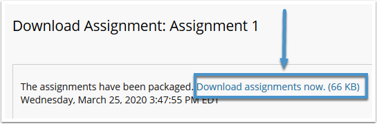 Download assignments now link