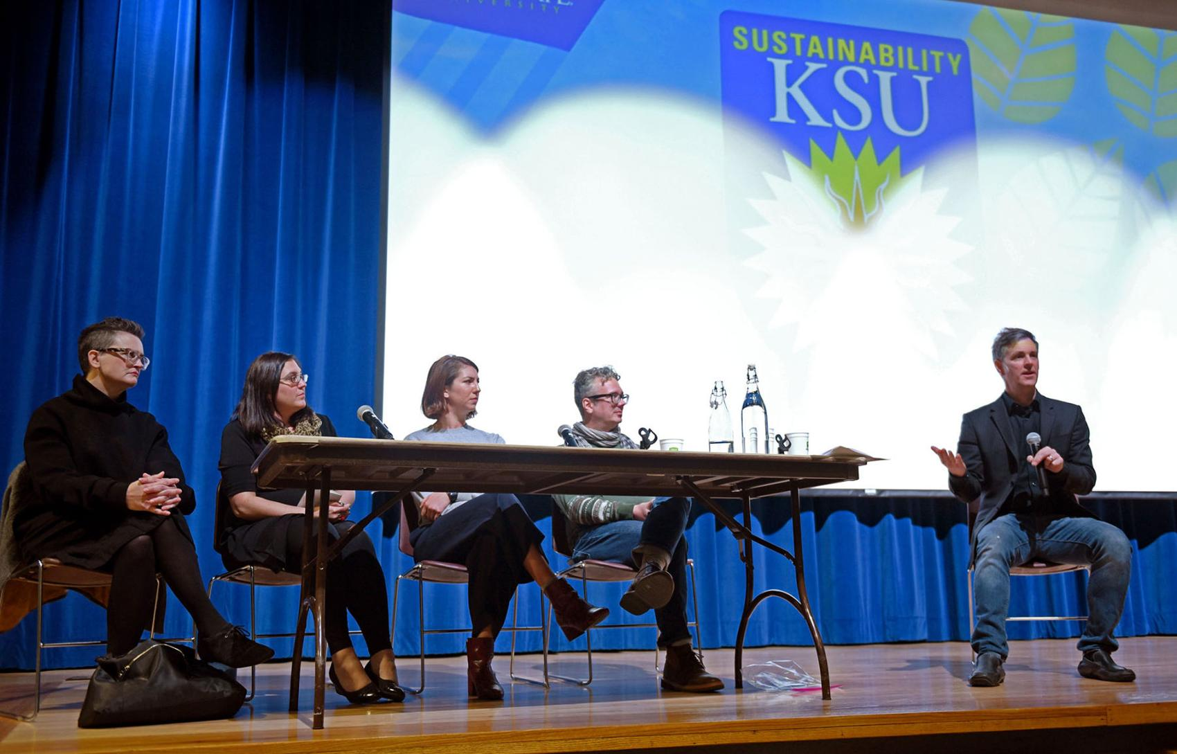 "A discussion panel answers audience questions after the showing of ""The True Cost"" in the KIVA on Thursday Oct. 26, 2017.  Matt Arnold"