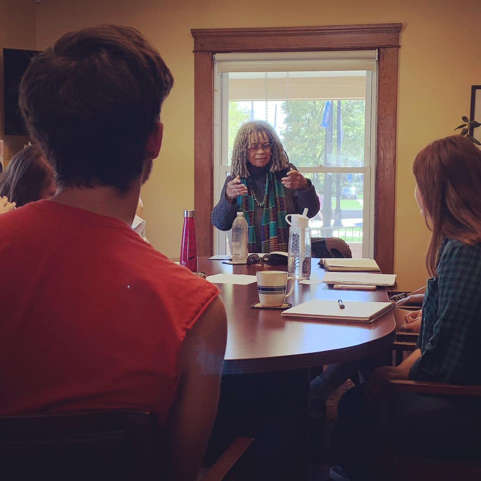 Sonia Sanchez talks to students