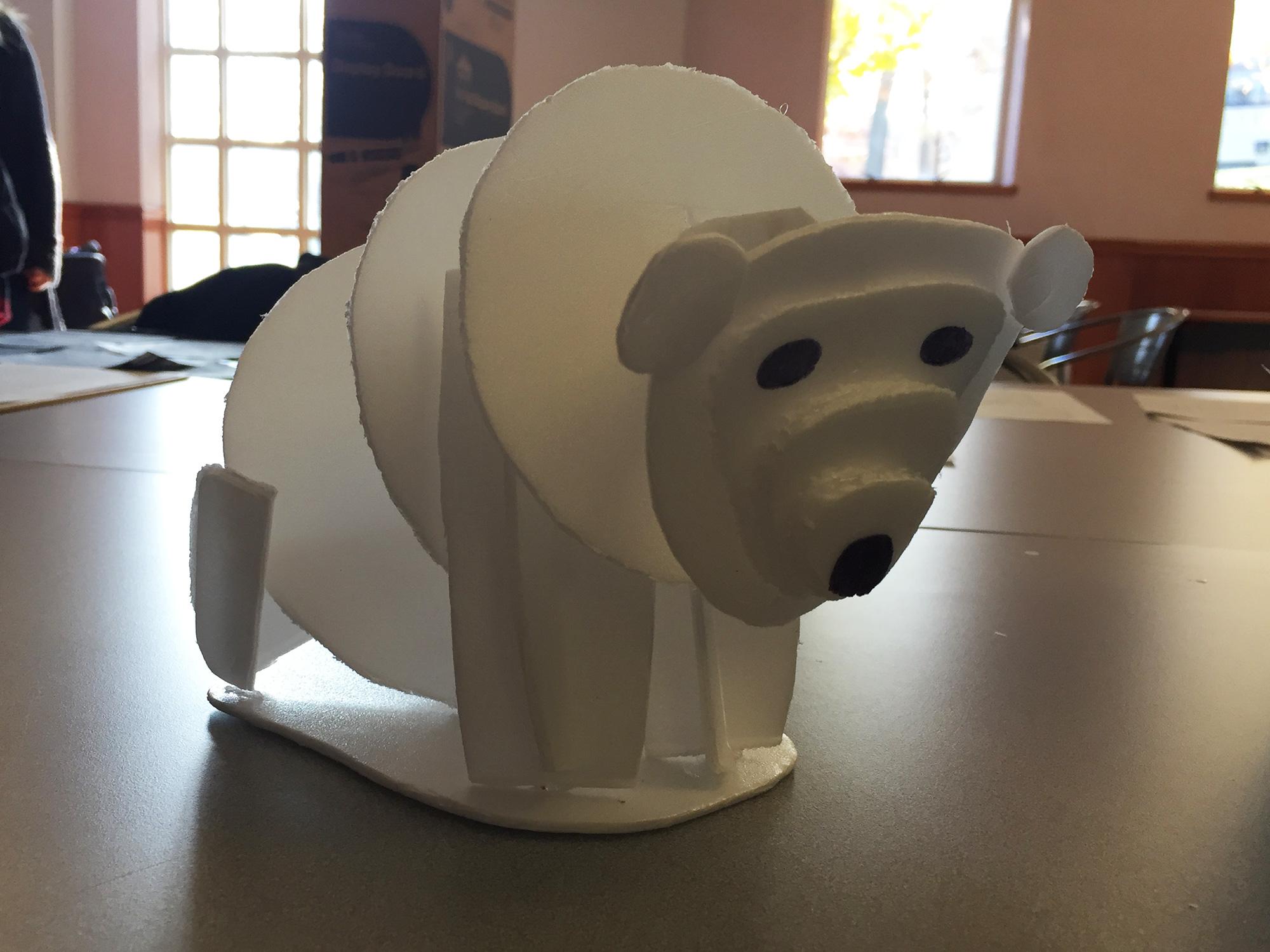 Abstract sculpture of polar bear