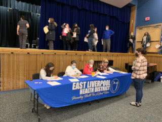 Students from the ADN program at Kent State East Liverpool volunteered at the vaccination clinic held for employees of the East Liverpool City School district.