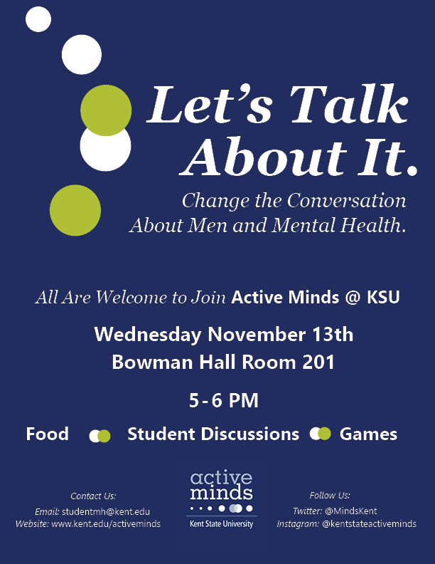 Event flyer for upcoming men's mental health discussion