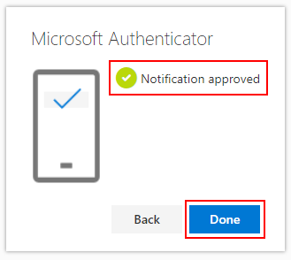 Notification Approved screen