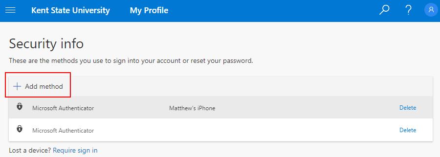 Security Info screen