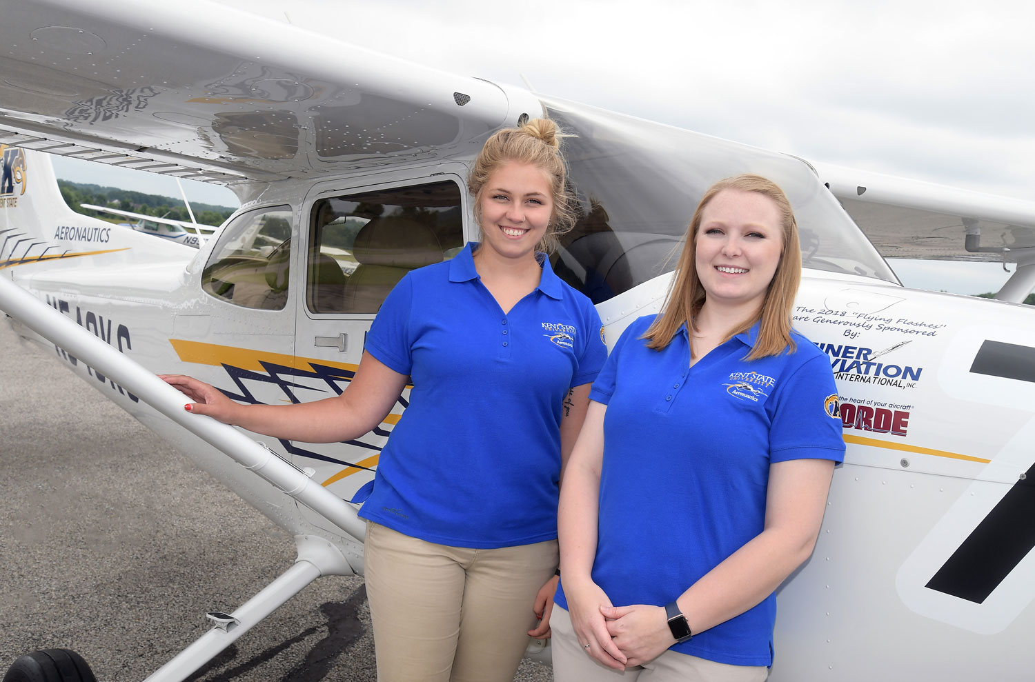 Kent State University aeronautics students Helen Miller and Kenzie Alge are soaring to the finish line in the 2018 Air Race Classic.
